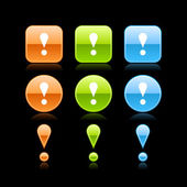 Exclamation mark glossy colored web button icon with reflection on black — Vettoriale Stock