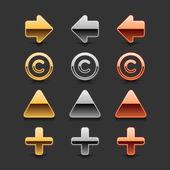 Flecha de metal, copyright, triangular y además icono con sombra oscura y negra caída reflexión sobre fondo gris — Vector de stock