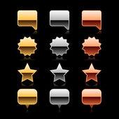 Metall-Karte Pin, Star, Aufkleber und Sprechblase mit dunklen Schatten und schwarz Tropfen Reflexion auf grauem Hintergrund — Stockvektor