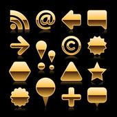 金の金属の空の web ボタンを灰色の背景に黒の反射とシャドウ設定 — ストックベクタ