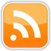 Orange button with rss icon symbol concept and shadow on a white background — Stockvector