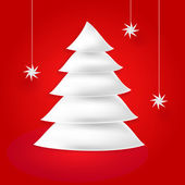 White paper origami fir tree and snowfall with shadow and glow on red background. This vector illustration created in the technique of wire mesh — Stock Vector
