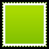 Matted green blank postage stamp on black background — Stock Vector