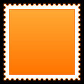 Matted orange blank postage stamp on black background — Stock Vector