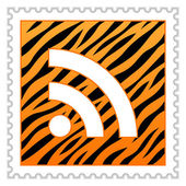 Yellow tiger striped hazard warning postage stamps with big rss symbol on white background — Wektor stockowy