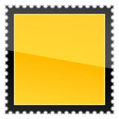 Matted yellow hazard warning blank postage stamp on white background — Stock Vector