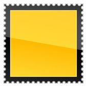 матовый желтый опасности предупреждение пустых почтовых марок на белом фоне — Cтоковый вектор