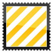 Advertencia peligro amarillo rayas sello en blanco — Vector de stock