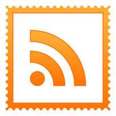 Francobolli arancioni con simbolo rss su sfondo bianco — Vettoriale Stock
