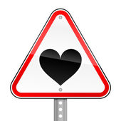 Triangular red road warning sign with heart symbol on white background — Stock Vector