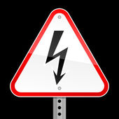Triangular red road warning sign with high voltage symbol on black background — Vettoriale Stock