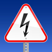 Triangular red road warning sign with high voltage symbol on sky background — Stock Vector