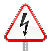 Triangular red road warning sign with high voltage symbol on white background — Stock Vector