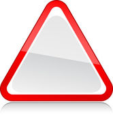 Red triangular blank attention warning sign on white background — Stock Vector