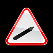 Red attention warning sign with gas symbol on black — Vettoriale Stock