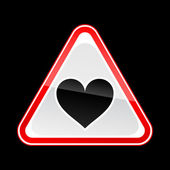 Red hazard warning sign with heart symbol on black background — Stock Vector