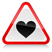 Red attention hazard warning sign with heart symbol with reflection on white background — ストックベクタ