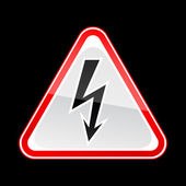 Red hazard warning sign with high voltage symbol on black background — Stock Vector