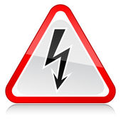 Red attention warning sign with black high voltage symbol on white background — Stock Vector