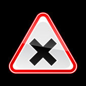 Red attention warning sign with irritant symbol on black — Vettoriale Stock