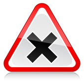 Red attention warning sign with irritant symbol on white — Vettoriale Stock