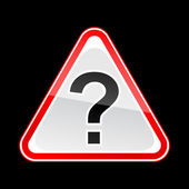 Red attention warning sign with question mark symbol on black — Vettoriale Stock