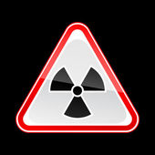 Red attention warning sign with radiation symbol on black — Vettoriale Stock