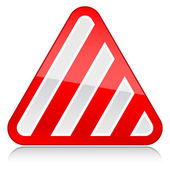 Red attention warning sign with warning stripes symbol on white — Stock Vector
