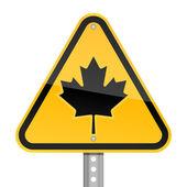 Yellow road hazard warning sign with Canadian maple leaf on a white background — Stock Vector