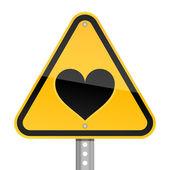 żółty drogowego zagrożenie znak ostrzegawczy z serce symbol na białym tle — Wektor stockowy