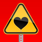 Yellow road hazard warning sign with heart symbol on a red background — Stock Vector