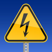 Yellow road warning sign with high voltage symbol on sky background — Stockvector