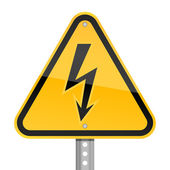 Yellow road hazard warning sign with high voltage symbol on a white background — Stock Vector