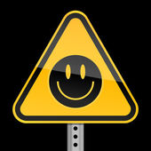 Yellow road warning sign with black smiley face symbol on black background — Stock Vector