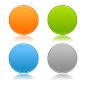 Round blank matted color buttons on white — Stock Vector