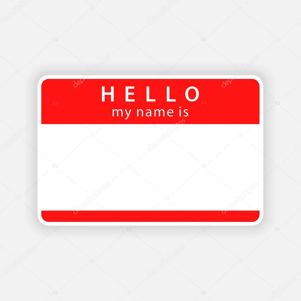 Red name tag empty sticker HELLO - 45.7KB