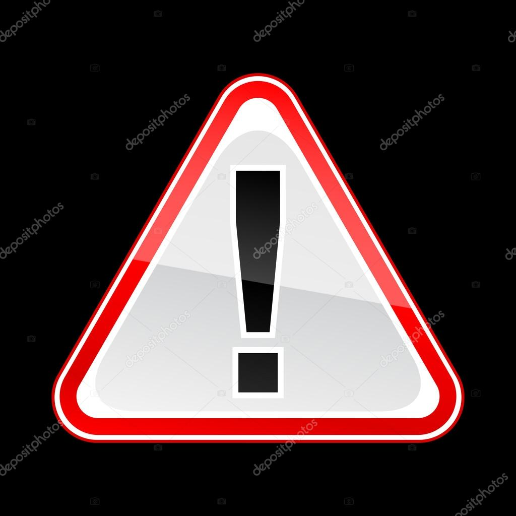 red hazard attention warning sign with exclamation mark on