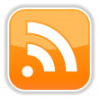 Orange button with rss icon symbol concept and shadow on a white background — Grafika wektorowa