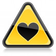 Stock Vector: Yellow hazard warning sign with heart symbol on white background