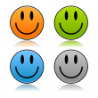Matted colored color smiley faces with reflection on white — Stock Vector