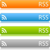 RSS satin buttons color bars on white background — Stock Vector