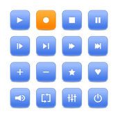 Blue and orange 16 media control web 2.0 buttons. Rounded square shapes with shadow on white — Stock Vector
