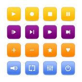 16 media audio video control web 2.0 buttons. Colored rounded square shapes with shadow on white background — Stock Vector
