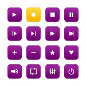Violet and yellow 16 media control web 2.0 buttons. Rounded square with shadow on white background — Stock Vector