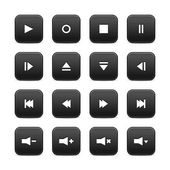 16 media audio video control web 2.0 buttons. Black rounded square shapes with shadow on white background — Stock Vector