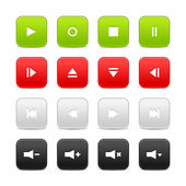 16 media audio video control web 2.0 buttons. — Stock Vector