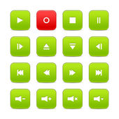 Green and red 16 media control web 2.0 buttons. Rounded square shapes with shadow on white — Stock Vector
