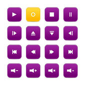 Violet and yellow 16 media control web 2.0 buttons. Rounded square shapes with shadow on white — Stock Vector