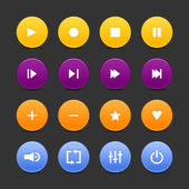 16 media control web 2.0 buttons. Colored round shapes with reflection on black background — Stock Vector