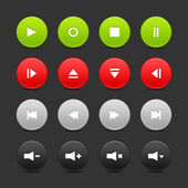 16 media control web 2.0 buttons. — Stock Vector